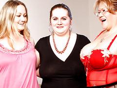 Amazing trio of voluptuous lesbians fucking vaginas