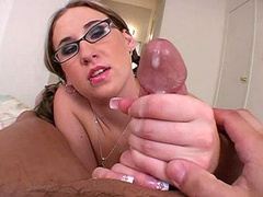 Horny hot geek Kimmy loves big cock handjob and cum