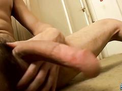 Skinny straight guy Shank jerks off and spews cum