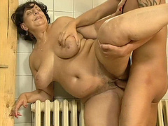 Hot horny mom goes naughty with big cock in shower