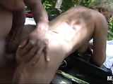 Mind blowing mature fuck in doggy in public park