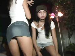 Wanton teen hotties flashing boobs and wet pussies