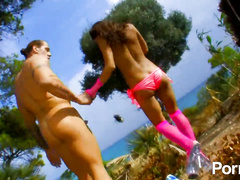 Fabulous Spanish hottie stretches pussy outdoors