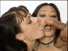 Hot brunette pornstar Jewel Denyle and her friend receives some warm liquid after sex