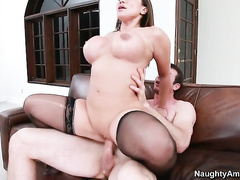 Busty mommy Ava Devine riding large pole reverse cowgirl style