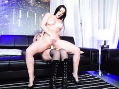 Cougar Rachel Starr and stripper Dillion Harper enjoy sex with strapon