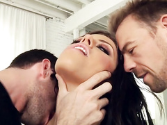 Two horny guys ready to bang good-looking brunette Adriana Chechik