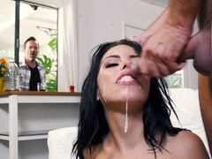 Friend of Adriana Chechik's husband blesses her face with fresh cum