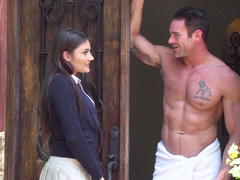 Neighbor's daughter Adria Rae comes to man and he worships small ass