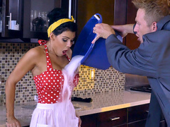 Angry employer calms down squeezing Peta Jensen's big XXX coconuts