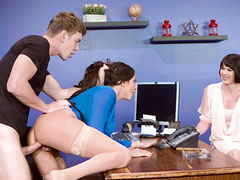 Man caught horny office woman Ariella Ferrera and fucked her in front of client
