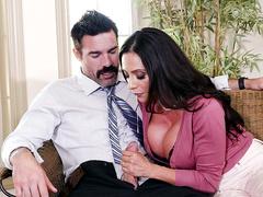 Mom of easy virtue Ariella Ferrera adores extreme sex and sucks boy under table