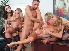 Blonde Brazzers moms and Chanel Preston take part in hot group fuck