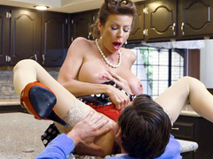 Excited boy wants to lick pussy of stepmom Alexis Fawx so greedily