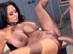 Boy is carnal with big-boobied stepmom Ava Addams on working table