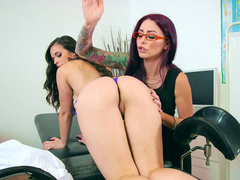 Lesbian mom Monique Alexander spanks Nekane's ass and fingers pussy