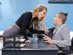 Ravishing office mom Nicole Aniston gives boss big tits for kissing