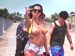 Skater slut Keisha Grey flashes juicy tits while fooling around outdoors