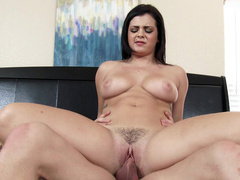 Young stepmom Keisha Grey with a taut asshole rides penis in bed