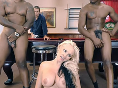 Pleasing stepmom Alena Croft really satisfied by black stepsons on pool table