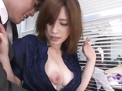 My hot Japan secretary is not going to mind me touching her at work