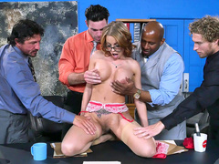 Hot mom Britney Amber starts stripping in front businessmen in office
