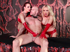 Alektra Blue and Nikki Benz in red vinyl lingerie give a XXX massage