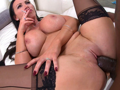 Black XXX actor spreads Nikki Benz's legs covered with stockings for sex