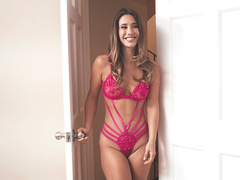 Smoking-hot daughter Eva Lovia in pink lingerie sits on man's face