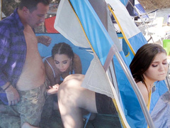 Man is carnal with Jojo Kiss and Karlee Grey after he has caught them in tent