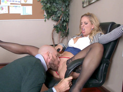 Tender vulva of sexy mom Cherie DeVille and tongue of subordinate belong together