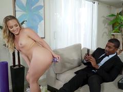Surprised black guy helps AJ Applegate stretch big butt using XXX toy