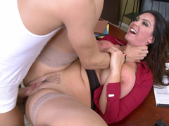 Office babe porn star Alison Tyler gets face fucked and pounded on a table
