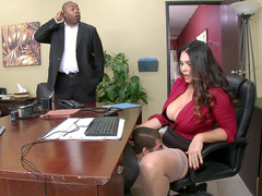 Busty porn star Alison Tyler gets eaten out in her office chair by a stud