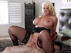 Sexy porn star Alura Jenson riding cock hard and fast