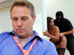 Cheating wife Aryana Adin fucked and facialized by a burglar