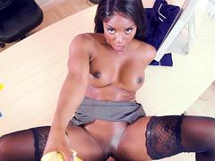 Dirty talking ebony milf boss Jasmine Webb fucked in her office
