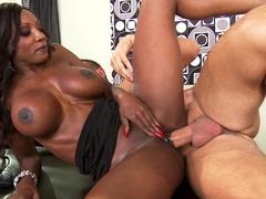 Busty ebony MILF Diamond Jackson gets her pierced cunt fucked at work