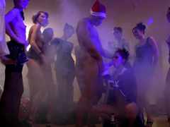 Crazy new year party in the college turns in orgy