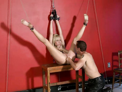 Hot blonde beauty fucked and disciplined by male