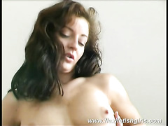 Flexible hottie Judith shows off her hairy pussy