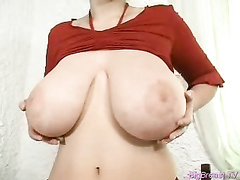 Filthy slut treats her pussy and tits with dildo