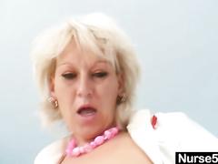 Horny mom in nurse uniform fucking big hard dildo