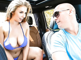 Busty slut Lena Paul shows off nude and XXX blows a guy in the car