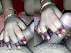Big Boobs Desi wife shaking cock and balls rubbing