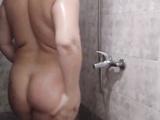 Spy.  Mom takes a shower.