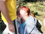 OUTDOOR SEX. Hard Fucking Redhead Horny Curvy Mommy in the Park