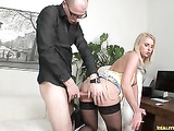 Blonde office hottie Ewe gets her pussy hard fucked