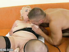 Horny granny bitch first exposed to fuck machine