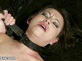 Sexy babe fixed helpless and fucked hard by master